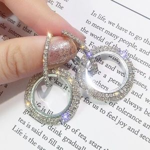 Crystal Round Silver Hoop Earrings